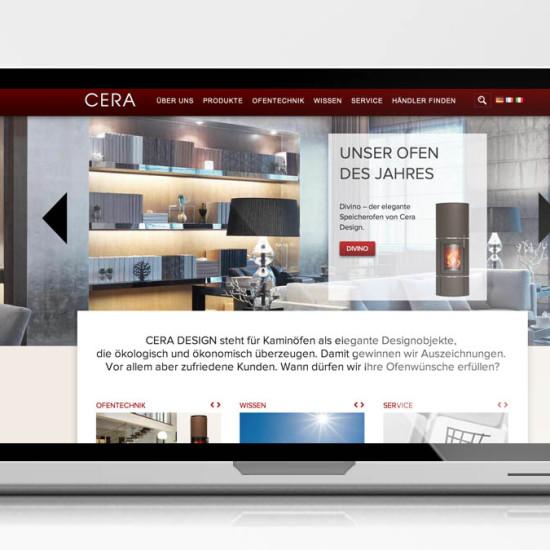 Startseite der CERA Website