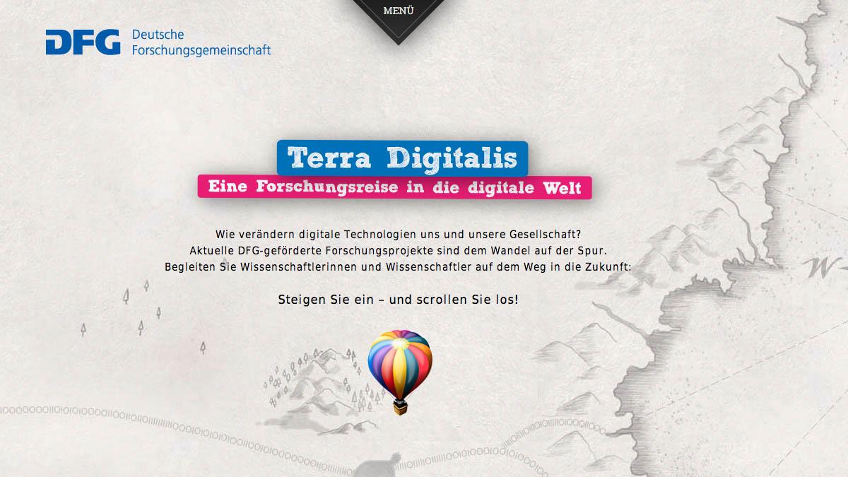 Terra Digitalis - Website für DFG - Screenshot 1
