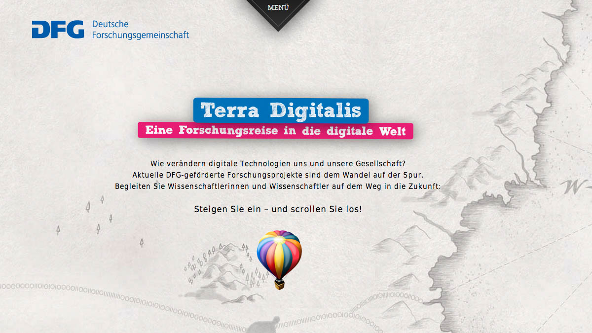 Terra Digitalis - Website für DFG - Screenshot 1